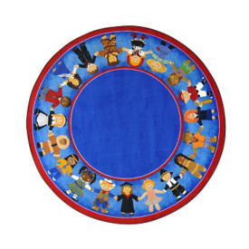 "Children of Many Cultures Round Rug 91"" Diameter, P40118"