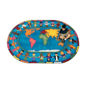"Hands Around the World Oval Rug 129"" x 158"", P40147"