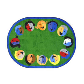 "Joyful Faces Oval Rug 65"" x 92"", P40152"