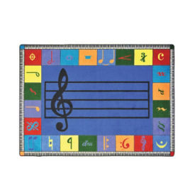 "Noteworthy Elementary Music Design Rectangle Rug 65"" x 92"", P40195"