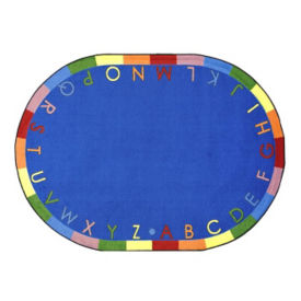 """Rainbow Alphabet Oval Rug 65"""" x 92"""", P40219"""