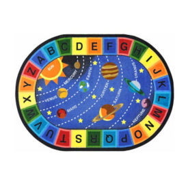 "Space Alphabet Oval Rug 129"" x 158"", P40256"