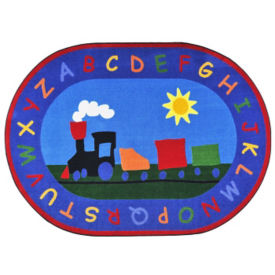 "Tiny Train Oval Rug 129"" x 158"", P40265"
