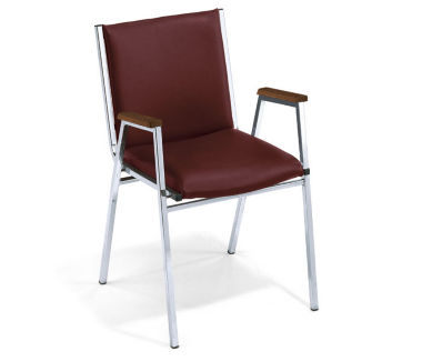"""Stack Chair with 1"""" Vinyl Seat and Arms, C60034"""