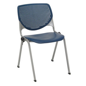 Armless Stack Chair with Perforated Poly Back, C60204