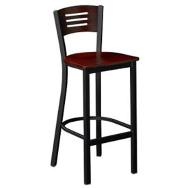 Metal Stool with Wood Seat-Back, D45189