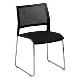 All-Purpose Stack Chair with Mesh Back and Poly Seat, C60202