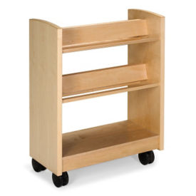 "Book Cart with Slanted Shelves in Maple Finish 41""H, B34376"