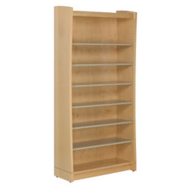 "Single Sided Metal Shelf Bookcase with Maple Sides and Back 60""H, B34398"