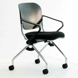Poly Back and Fabric Seat Nesting Chair, C70350