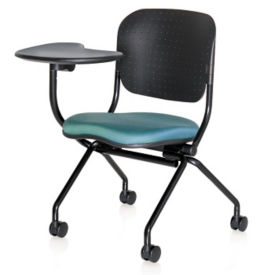 Poly Back and Fabric Seat Nesting Chair with Right Tablet Arm, C70352
