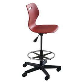 Adjustable Height Student Task Stool with Carpet Casters and Arms, C70484