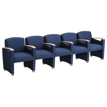 Fabric 5 Seat Sofa with Center Arms