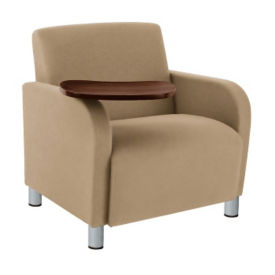 Oversized Vinyl Lounge Chair with Tablet Arm, W60707