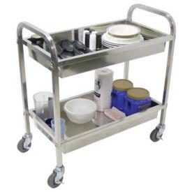 "Two Shelf Stainless Steel Tub Cart 19"" x 35-1/2"", B34482"