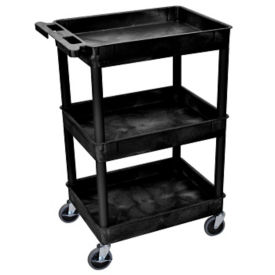"Three Shelf Tub Cart in Black - 36.5""H, M10001"