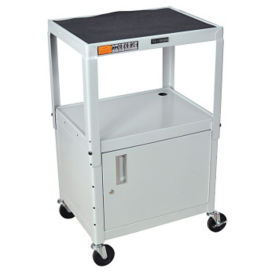 Adjustable Height AV Cart with Cabinet, M10006