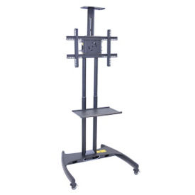"Mobile Flat Panel TV Mount with Two Shelves - 62-1/2"", M10378"