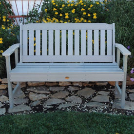 "Synthetic Wood Vertical Slat Outdoor Bench 48""W, F10001"