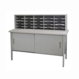"Mailroom Storage Table with 25 Slot Organizer and Cabinet 60""W, B30257"