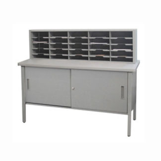 """Mailroom Storage Table with 25 Slot Organizer and Cabinet 60""""W, B30257"""