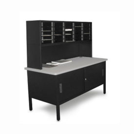 Mailroom Storage Table with Riser, 25 Slot Sorter and Cabinet, B30259