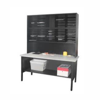 Mailroom Table with Riser and 50 Slot Organzier, B30260