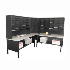 Mailroom Storage Table with Riser and 84 Slot Organizer, B30262