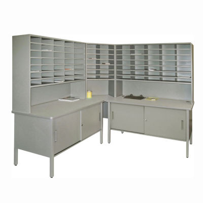 Compare Mailroom Corner Storage Table With Riser, Cabinet And 84 Slot  Organizer, B30263
