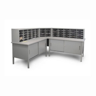 Mailroom Corner Storage Table with 60 Slot Organizer, B30264