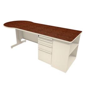 "Conference Desk with Bookcase - 30"" D x 87"" W, D31177"