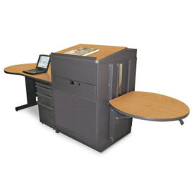 Teachers Desk and Media Center with Steel Door, D31179