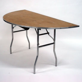 "Half Round Plywood Folding Table - 30""Dx60""W, T10101"