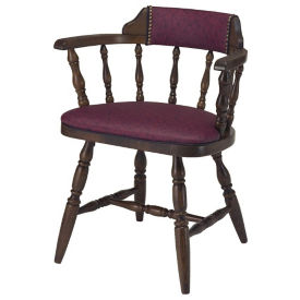 Wood Frame Captains Chair with Vinyl Seat and Back and Full Arms, K00081