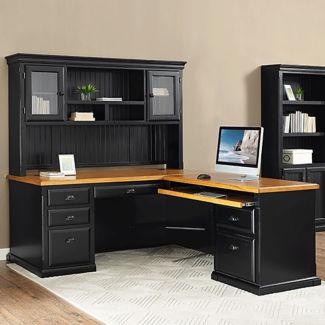 "Right Return L-Desk with Hutch - 70""W, D37781"