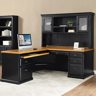 """Left Return L-Desk with Hutch - 70""""W, D37780"""
