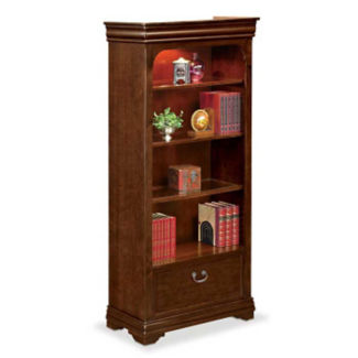"Four Shelf Traditional Bookcase with Drawer - 78-1/4"" H, D30141"