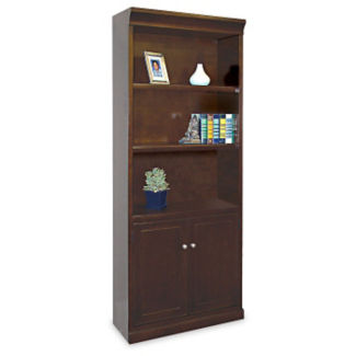 "Five Shelf Contemporary Bookcase with Doors - 72"" H, B30393"