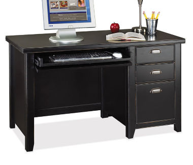"Compact Single Pedestal Desk - 24-1/4"" D x 52"" W, D35059"