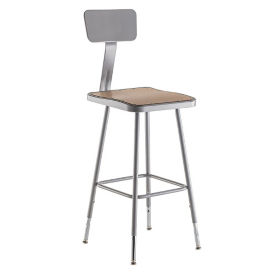 "Square Seat Stool with Backrest - 38-47.5""H, C70501"