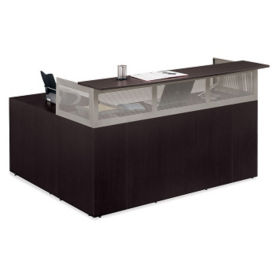 "At Work Left Return Reception L-Desk with Pedestal - 72""W, D35345"