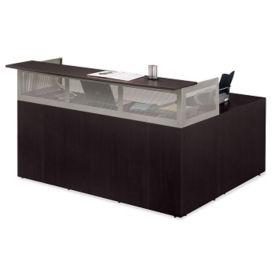 "At Work Right Return Reception L-Desk with Pedestal - 72""W, D35346"