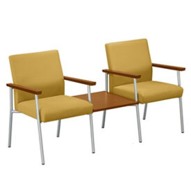 Two Fabric Guest Chairs with Center Table Set, C80256