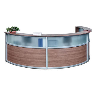 "Compass Laminate and Glass Triple Reception Desk - 125""W x 48""D, D30295"