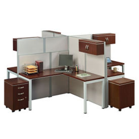 Four Person Instant Office L-Desk Station, D35675