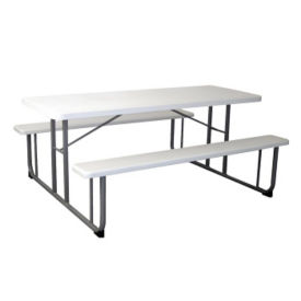 "Rectangular Plastic Picnic Table with Benches - 72""W, F10327"