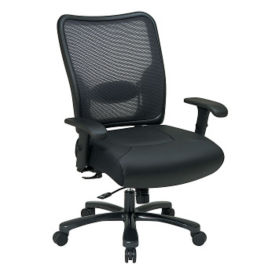 Big and Tall Chair with Mesh Back and Leather Seat, C80200