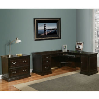 Espresso L-Desk with Lateral File, D30133