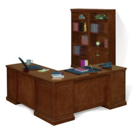 Executive L-Desk with Bookcase, D35192