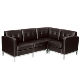 Faux Leather L-Shaped Sofa, W60468